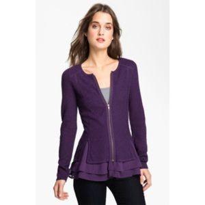 HINGE Plum Purple Knit Peplum Ruffle Zip up Jacket
